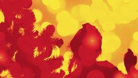 Fondo dell'estratto della siluetta di Natale Luci tremule dell'oro Notte di Natale della cartolina d'auguri Il flash accende il c stock footage