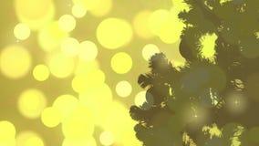 Fondo dell'estratto della siluetta di Natale Luci tremule dell'oro Notte di Natale della cartolina d'auguri Il flash accende il c video d archivio