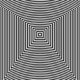 Fondo dell'estratto di arte di illusione ottica Modello quadrato ipnotico geometrico monocromatico in bianco e nero illustrazione di stock