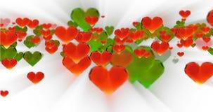 Fondo dell'estratto di compleanno di giorno del ` s del biglietto di S. Valentino, cuori di vetro tagliati volanti su bianco Rapp stock footage