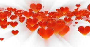 Fondo dell'estratto di compleanno di giorno del ` s del biglietto di S. Valentino, cuori di vetro tagliati volanti su bianco Rapp video d archivio