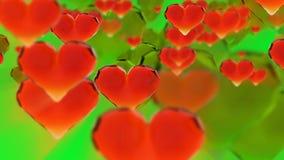 Fondo dell'estratto di compleanno di giorno del ` s del biglietto di S. Valentino, cuori di vetro tagliati volanti su verde Rappr stock footage