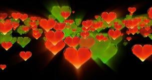 Fondo dell'estratto di compleanno di giorno del ` s del biglietto di S. Valentino, cuori di vetro tagliati volanti sul nero Rappr video d archivio