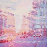 Fondo dell'estratto di ecologia di fantasia Paesaggio urbano misto con il naturale su struttura di carta fotografia stock