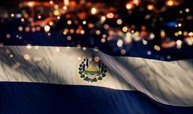 Fondo dell'estratto di EL Salvador National Flag Light Night Bokeh Fotografia Stock Libera da Diritti