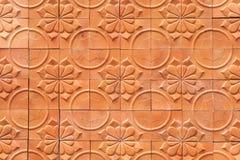 Fondo dell'estratto di terracotta della parete di Brown Immagine Stock