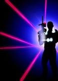 Fondo dell'etichetta del laser Fotografie Stock Libere da Diritti