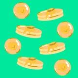 Fondo dell'icona del pancake nel verde blu Fotografia Stock
