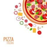 Fondo dell'icona della pizza Fotografie Stock Libere da Diritti