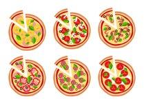 Fondo dell'icona della pizza Fotografia Stock