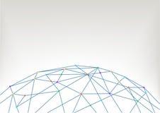 Fondo dell'illustrazione della mappa di mondo con i poligoni e le linee che collegano la gente, dispositivi, città, oggetti Immagine Stock Libera da Diritti