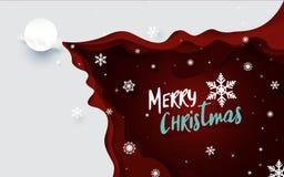 Fondo dell'illustrazione di Buon Natale Santa Claus Driving in una slitta ed in un fiocco di neve con rosso ondeggia il taglio de Fotografia Stock