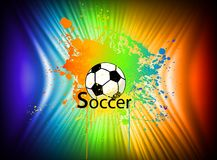 Fondo dell'inchiostro dell'arcobaleno con pallone da calcio. Vettore Immagini Stock Libere da Diritti