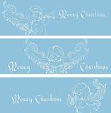 Fondo dell'insegna di Natale con gli angeli di canto. Fotografia Stock