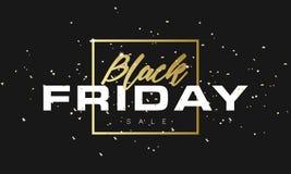 Fondo dell'insegna di vendita di Black Friday con il testo dell'oro di scintillio Modello di lusso di Black Friday del manifesto  Immagini Stock Libere da Diritti