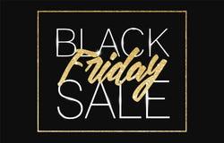 Fondo dell'insegna di vendita di Black Friday con il testo dell'oro di scintillio Modello di lusso di Black Friday del manifesto  Fotografia Stock