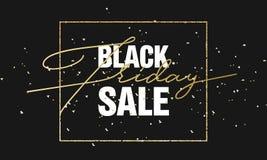 Fondo dell'insegna di vendita di Black Friday con il testo dell'oro di scintillio Modello di lusso di Black Friday del manifesto  Immagine Stock
