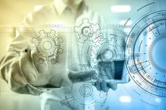 Fondo dell'interfaccia di tecnologia con il progetto degli ingranaggi Concetto di ingegneria, di affari, di sviluppo e di comunic fotografie stock
