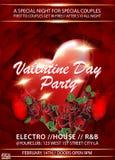 Fondo dell'invito del partito di giorno di biglietti di S. Valentino con le rose, il cuore rosso ed il bicchiere di vino illustrazione vettoriale