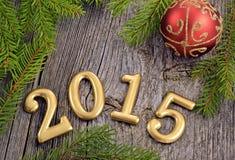 Fondo dell'nuovo anno con le decorazioni Fotografie Stock