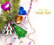 Fondo dell'nuovo anno con le decorazioni variopinte Fotografia Stock Libera da Diritti