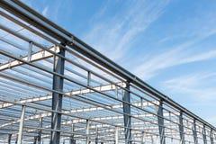 Fondo dell'officina della struttura d'acciaio Immagini Stock