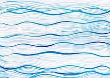 Fondo dell'onda del mare del blu di oceano della pittura dell'acquerello sulla carta bianca della tela Fotografie Stock