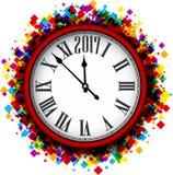 Fondo dell'orologio da 2017 nuovi anni Fotografie Stock