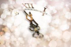 Fondo dell'orologio del nuovo anno Fotografie Stock