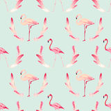 Fondo dell'uccello del fenicottero Retro reticolo senza giunte illustrazione di stock