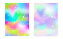 Fondo dell'unicorno con la pendenza di magia di kawaii Arcobaleno di principessa royalty illustrazione gratis