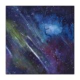 Fondo dell'universo - illustrazione disegnata a mano dell'acquerello, carta quadrata isolata su fondo bianco Spazio cosmico illustrazione di stock