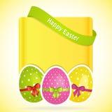 Fondo dell'uovo di Pasqua con l'insegna Immagine Stock