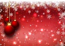 Fondo della bagattella di Natale con il confine del fiocco di neve royalty illustrazione gratis