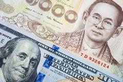 Fondo della banconota di baht tailandese e del dollaro americano nel concetto di soldi Immagini Stock