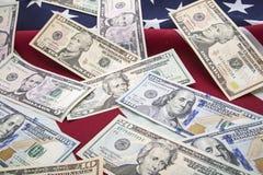 Fondo della bandiera dei soldi delle banconote di U.S.A. Fotografia Stock