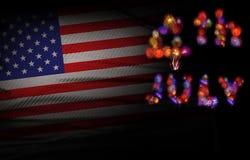 Fondo della bandiera di U.S.A. con il fuoco d'artificio quarto del giorno o luglio di Independense Immagine Stock Libera da Diritti