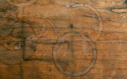Fondo della bevanda e progettazione del menu del caffè Anello di caffè su shab Immagini Stock Libere da Diritti