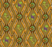 Fondo della carta da parati naturale ornamentale modellata con i riccioli Fotografia Stock