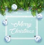 Fondo della cartolina di Natale con i rami e le pigne dell'abete Fotografie Stock