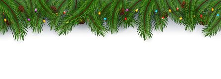 Fondo della cartolina di Natale con i rami e le pigne dell'abete Immagine Stock