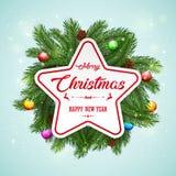 Fondo della cartolina di Natale con i rami e le pigne dell'abete Fotografia Stock
