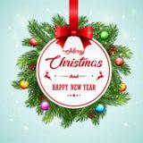 Fondo della cartolina di Natale con i rami e le pigne dell'abete Fotografia Stock Libera da Diritti