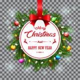 Fondo della cartolina di Natale con i rami e le pigne dell'abete Fotografie Stock Libere da Diritti