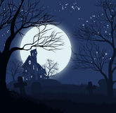 Fondo della casa di Halloween Fotografie Stock