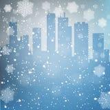 Fondo della città di inverno Fotografie Stock Libere da Diritti