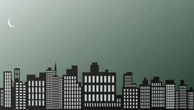 Fondo della città di notte. Fotografia Stock