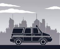 Fondo della città di vista laterale di van car del taxi Immagine Stock Libera da Diritti
