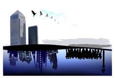 Fondo della città, modello della pagina di affari Fotografia Stock