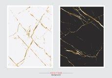Fondo della copertura del marmo dell'oro, modello stabilito di vettore illustrazione di stock